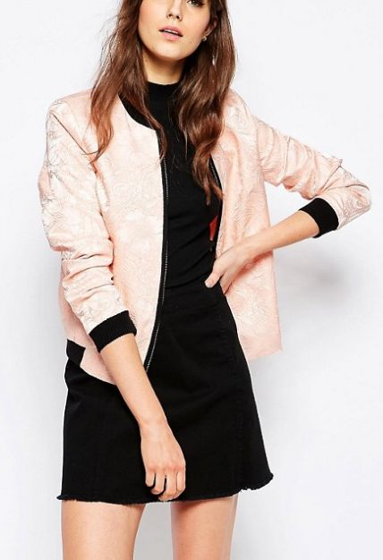 Black and Peach Floral Embroidered Bomber Jacket