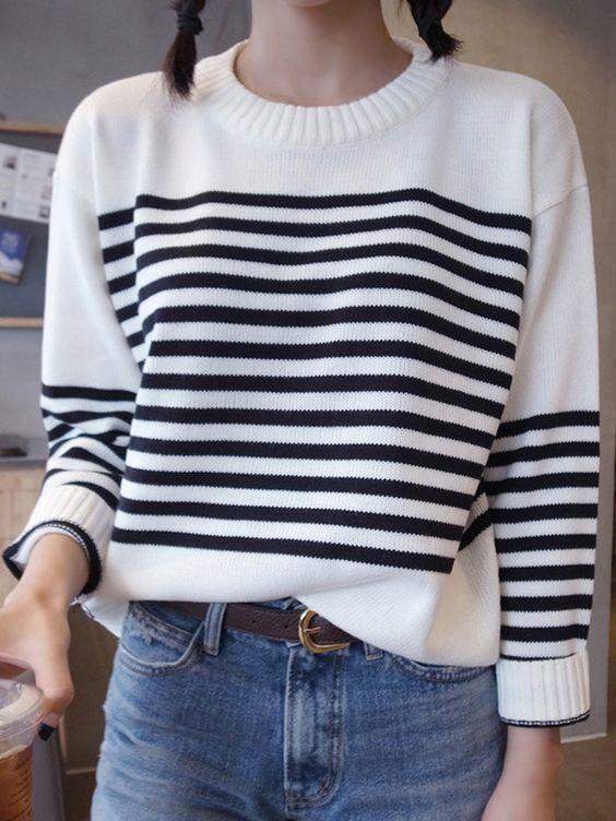 White Collarless Striped Sweater