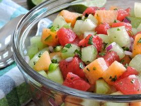 This melon mojito salsa is summertime in a bowl when you combine 3 types of juicy melons with tangy lime and fresh mint!