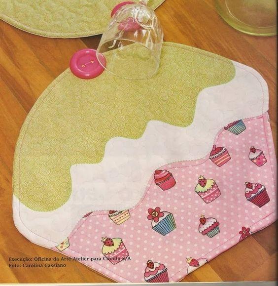 Cupcake - jogo americano - pap e molde