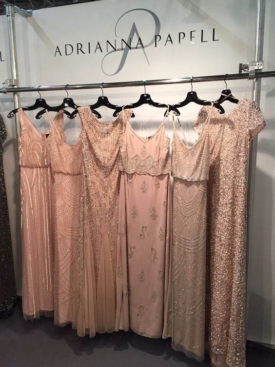 Adrianna Papell Varied Blush beaded dresses Not sure if she'd like these??
