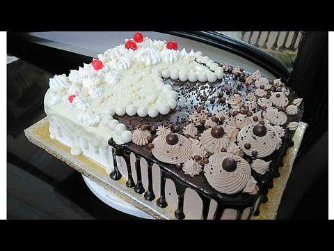 تزيين كيك تورتة نص كريمة ونص شيكولاتة بطريقة جديدة وسهلة Youtube Desserts Food Cake