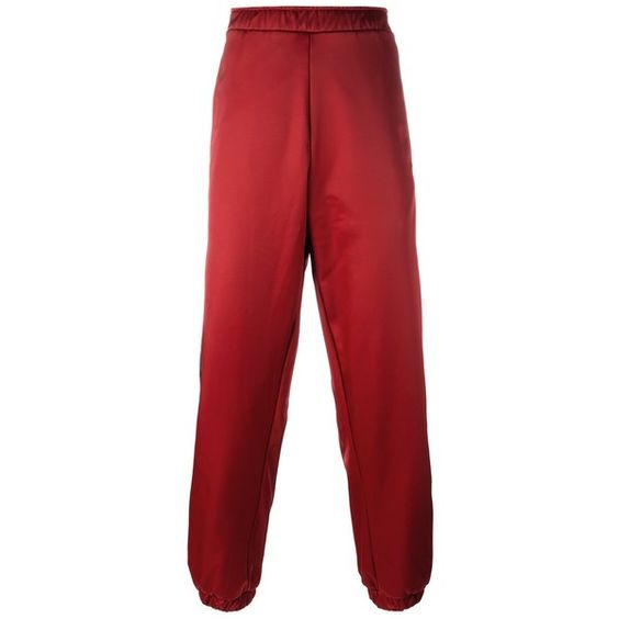 Astrid Andersen side stripe track pants ($435) ❤ liked on Polyvore featuring men's fashion, men's clothing, men's activewear, men's activewear pants, red and track pants