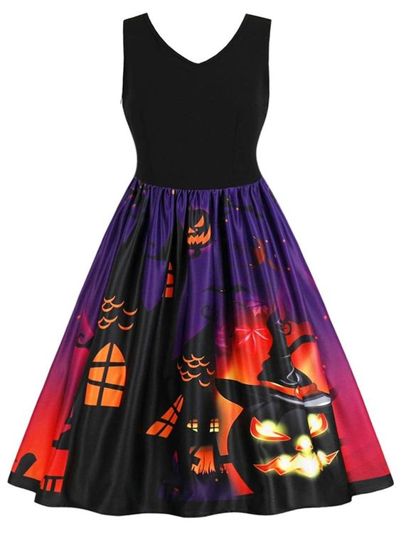 Halloween Plus Size Pumpkin Pattern A Line Dress