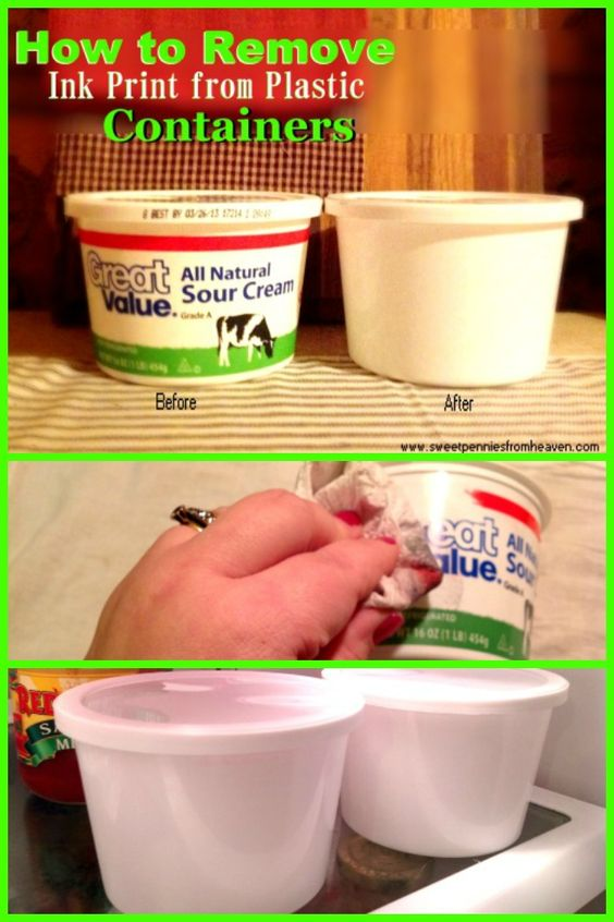 How to Remove ink print from plastic containers - acetone! nail varnish remover!! :D i must try this! :O :D