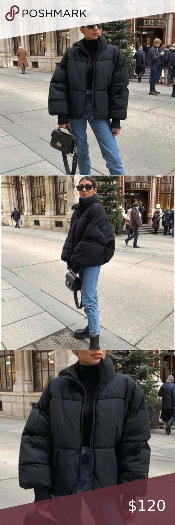 Nwt Zara Oversized Puffer Jacket Black [ 1692 x 564 Pixel ]