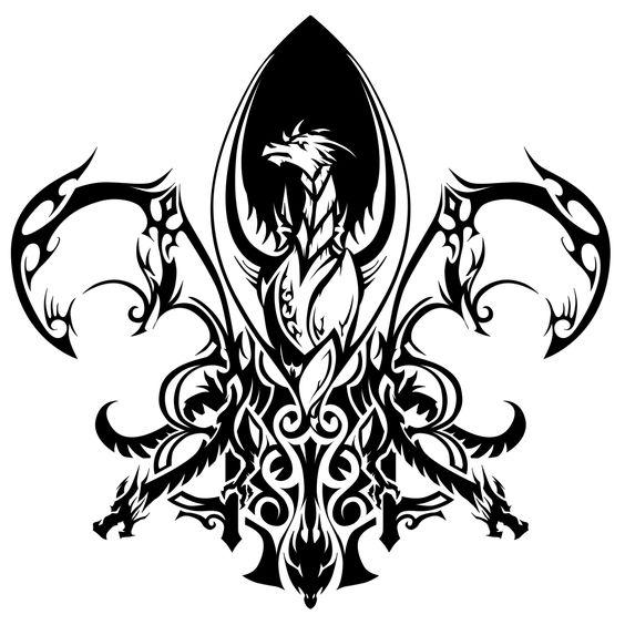 Tribal Dragon Fleur de Lis