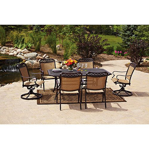 Better Homes and Gardens Paxton Place 7-Piece Outdoor Dining Set, Seats 6: Patio Furniture : Walmart.com