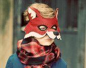 Fox Mask Handmade Felt Embroidered Details--Children Photography Prop Animal Costume