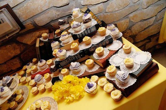 books as cupcake tower