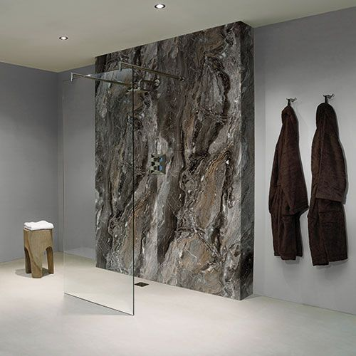 Bb Nuance Grey Paladina Pewter Marble Effect Bathroom Wall Boards In A Luxury Walk In Shower Ma Bathroom Wall Panels Bathroom Shower Walls Shower Wall Panels