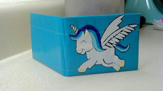 Blue Ombre Unicorn Duct Tape Wallet on Etsy, $12.00