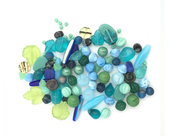 4-25mm Assorted Czech Pressed Glass Bead Mix Green Blue
