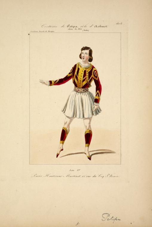 Costume de Petipa, rôle d'Achmet, dans La péri, ballet, acte 1er, Académie royale de musique.  [Petite galerie dramatique ; no. 1618 ] ([1843])