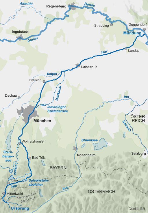 Karte: Verlauf der Isar vom Ursprung bis zur Mündung in die Donau   Bild: BR