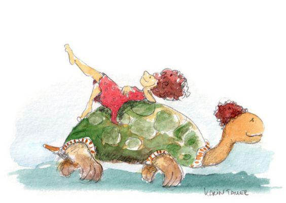 Humor - Immer mit der Ruhe - Postkarte - ein Designerstück von Atelier-Zebrafisch bei DaWanda