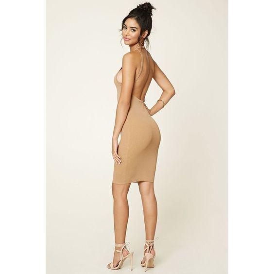 Forever 21 Women's  Open-Back Halter Dress ($25) ❤ liked on Polyvore featuring dresses, forever 21, open back dresses, open back halter dress, halter-neck dress and halter neckline dress