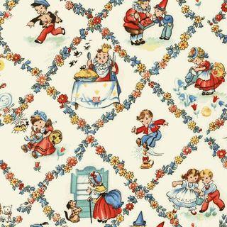 Vintage nursery rhyme characters fabric fabric for Retro nursery fabric