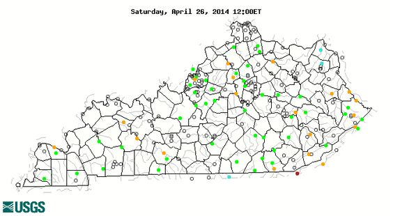 USGS map of KY shows stream flow in real time. Plan today's canoe trip.