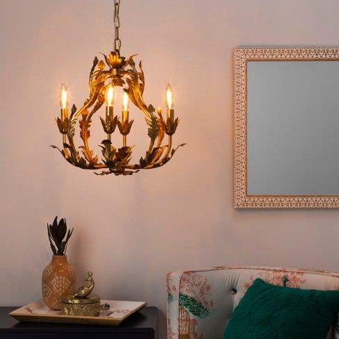 Tole Chandelier Italian Gold Iron Pendant Lamp Light Opalhouse Dining Room Decor