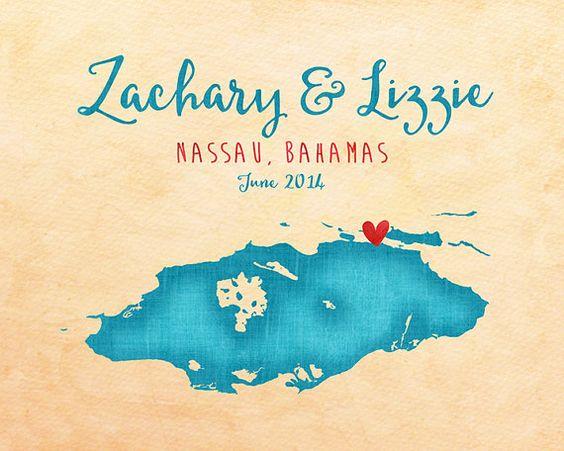 Nassau, Bahamas Map, Wedding, Engagement, Honeymoon Gift - Island Wedding, Teal Turquoise, Ocean Blue, Wall Canvas Art, Gift for Friend