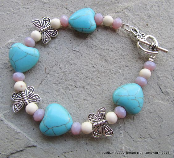 Howlite hearts, crystal and butterfly bracelet. www.facebook.com/bubbasbeads