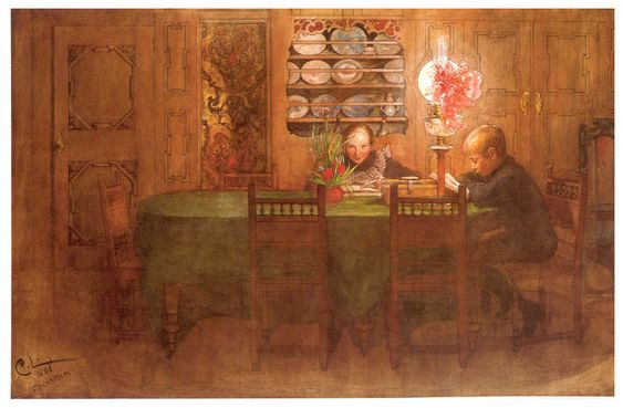 """Carl Larsson - """"Los deberes"""" 1898"""