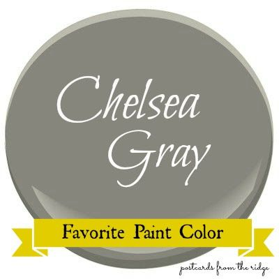Benjamin Moore Chelsea Gray finally after much thought and fact finding and photo searching i have chosen Benjamin Moore Chelsea Grey HC-168 for the body of the cottage accented by Chantilly Lace OC-65 with pops of Tropicana Cabana 2048 -50 there its in writing ! now no turning back sticking with these choices ! picking up paint tomorrow!: