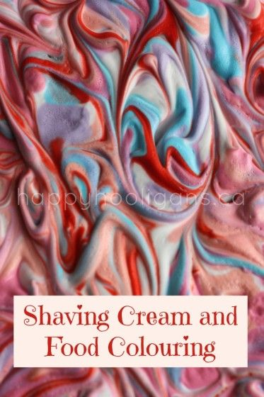 shaving cream and food colouring - happy hooligans - marbleized painting