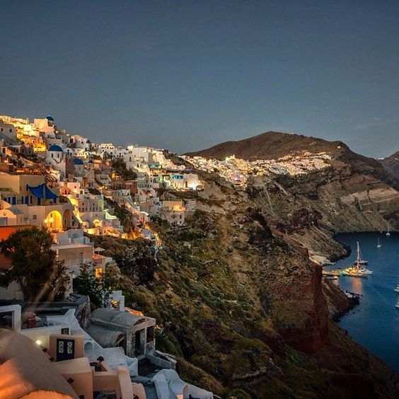 The night has fallen and the lights turned on at the village of Oia , in Santorini island ( Σαντορίνη ) ❤️. No words to describe it ... Looks like a fairytale picture