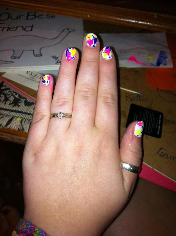 splatter paint nails i did a few years ago!
