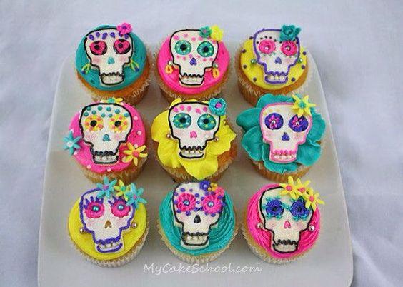 Calavera de azúcar cupcakes