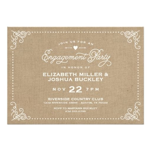 Burlap Rustic Vintage Script Engagement Party Personalized Announcement