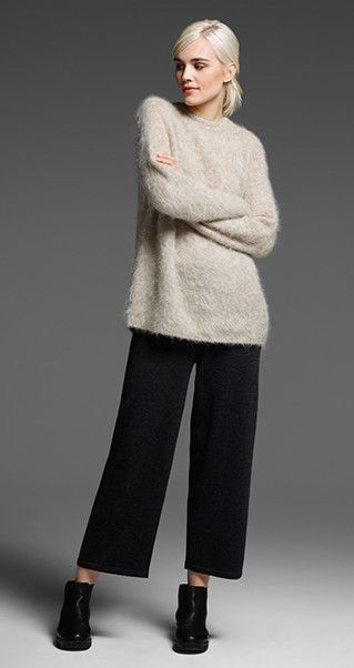 EILEEN FISHER New Arrivals: Brushed Alpaca Mohair Sweater, Merino Jersey Cropped Pant + Chelsea Bootie: