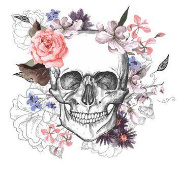 tatouage tete de mort: Jour Skull and Flowers of The Dead