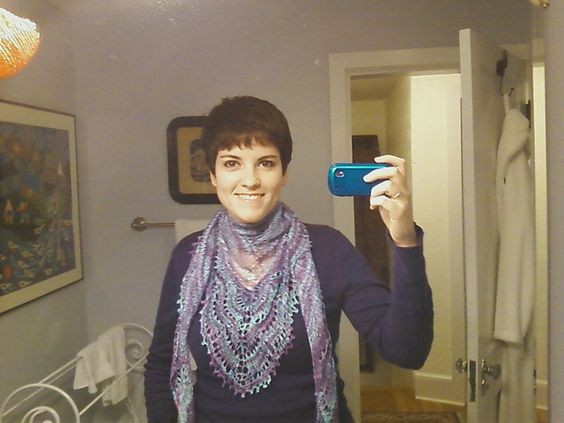 Ravelry: YoungKnitter91's Holden Shawlette with yarntopia treasures fingering rayon boucle