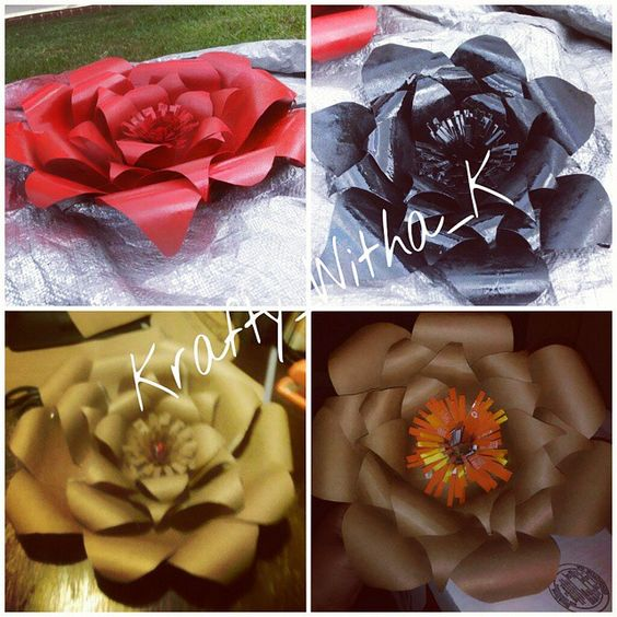 Before and After pictures of handmade paper flowers. Made with 100% recycled material.