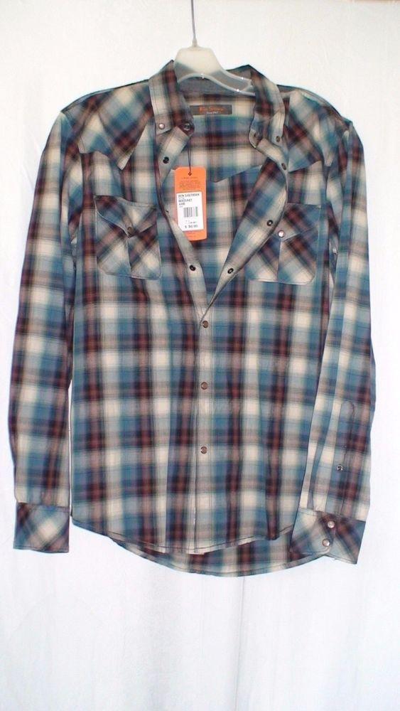Ben Sherman Long Sleeve Button Front Shirt Men's Size L Measurements Provided #BenSherman #ButtonFront