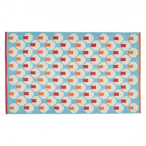 Octo Extra Small Orange And Blue Handwoven Cotton Flatweave Rug 80 X 130cm In 2020 Flat Weave Rug Hand Weaving Flat Weave