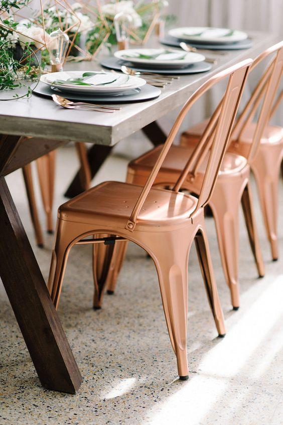 Copper + green industrial modern wedding tablescape