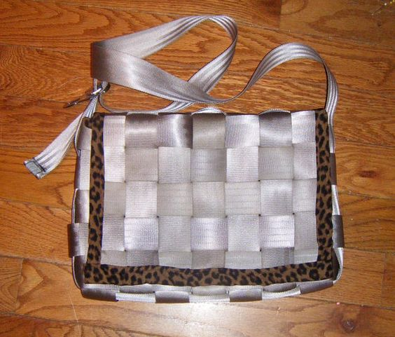 Champagne colored Leopard print Seatbelt Messenger Bag Laptop Case by 21CannonSalute on Etsy, $40.00