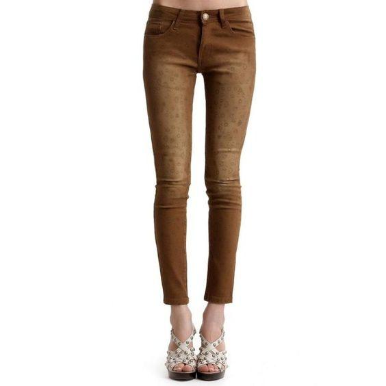 Leopard Mid-waist Slim Pants Yellow ❤ liked on Polyvore