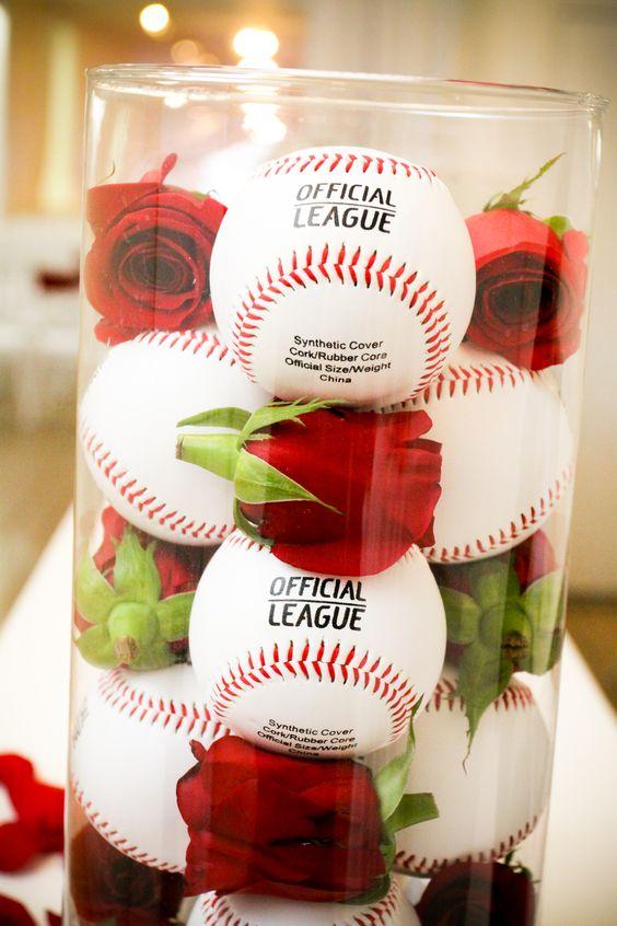 wedding, wedding details, wedding ideas, baseballs, roses, red roses, baseball centerpieces