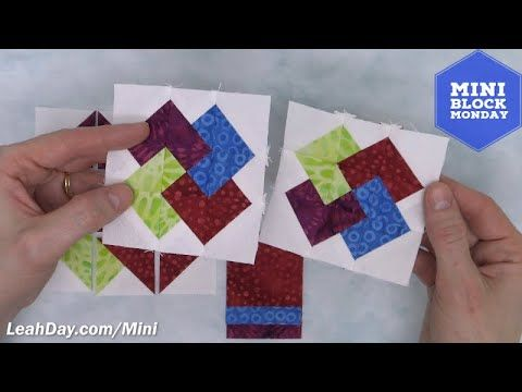 Learn How To Piece A Card Trick Quilt Block In This Mini Block Monday Tutorial With Leah Day Find Extra Instruct In 2020 Quilt Tutorial Video Card Tricks Quilt Blocks