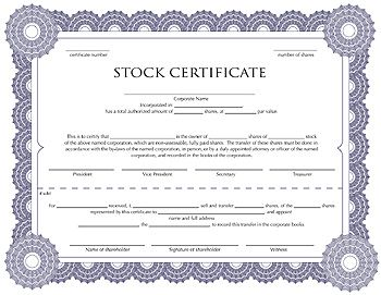 Free corporation stock certificate template for you to fill in ...