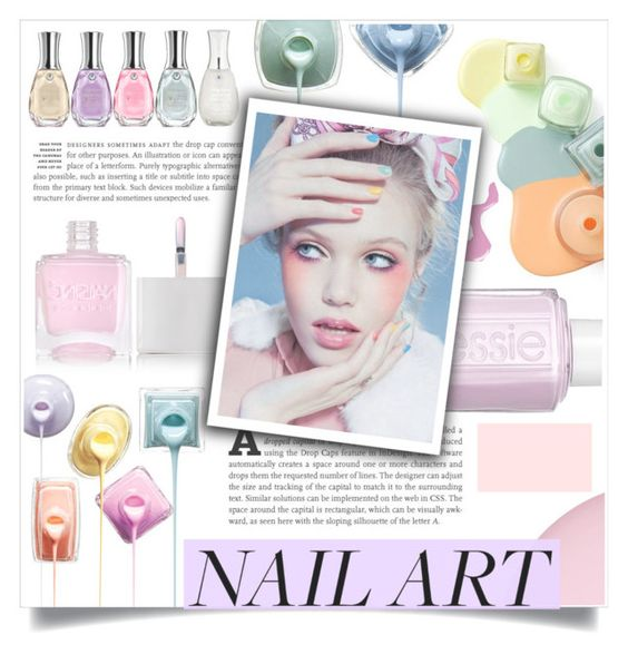 """Pastel Nails"" by fashionlover2157 ❤ liked on Polyvore featuring beauty, Sally Hansen, Nails Inc., Essie, nailart, pastel and beautyset"