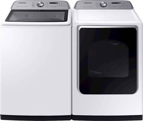 Samsung 5 4 Cu Ft 12 Cycle Top Loading Washer With Steam White Samsung Washer Washer Dryer Washer