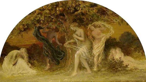 Óleo en cartón de Edward Calvert (1799 - 1883): las Hespérides bailando en torno al árbol