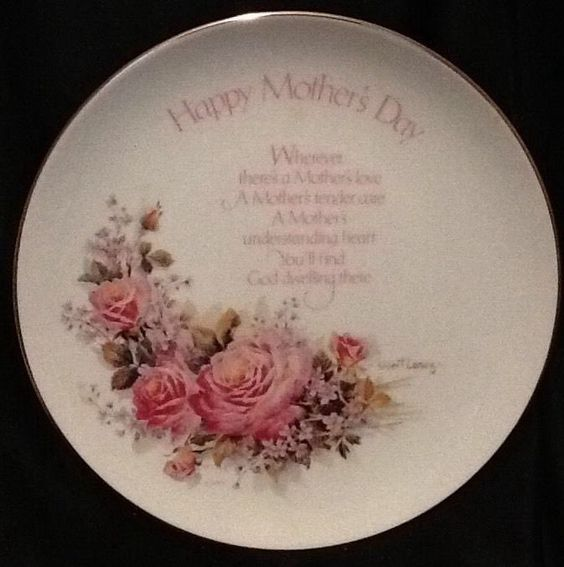 1977 Mothers Day Roses Plate Robert Leasing 8 Inch Plate