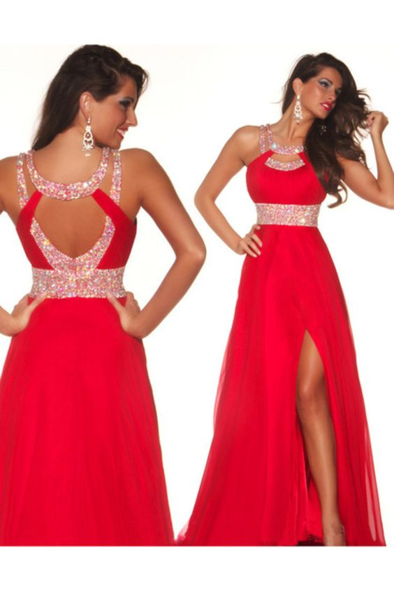 Shop Black Friday Sale Sexy Red Prom Dresses With Slit Cross Back ...
